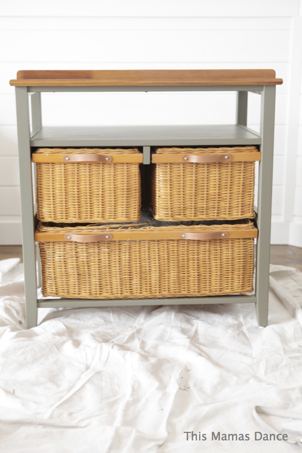 basket side table green