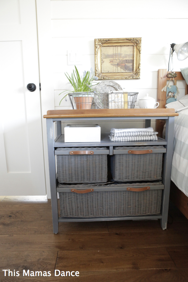 grey wicker night stand