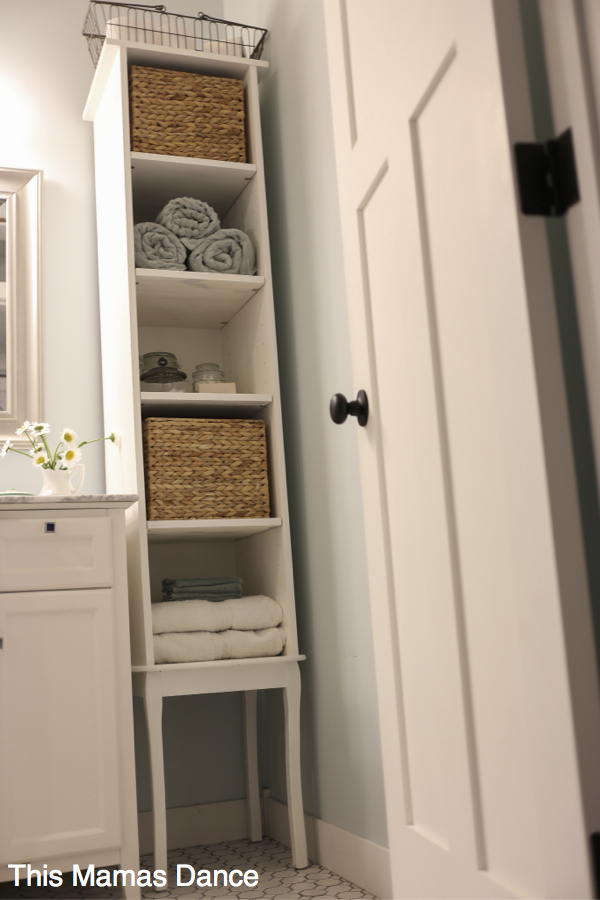 DIY White Bathroom Free Standing Cabinet