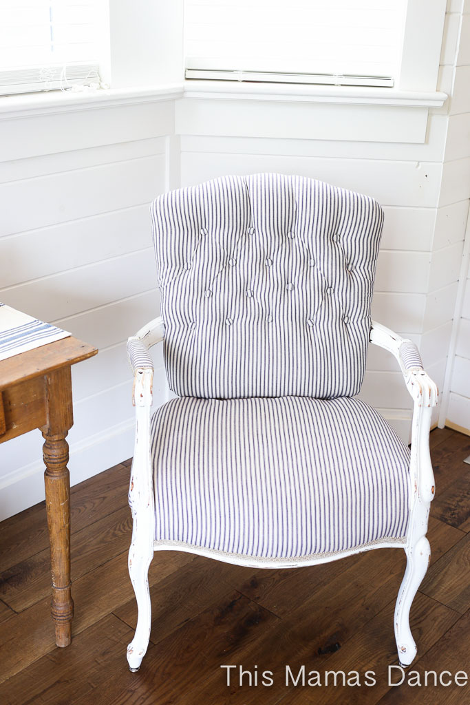 Button Tufting, white and navy striped chair-4