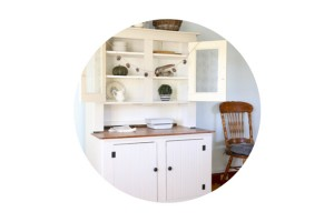 The Farmhouse Hutch Reveal Painted in MMS Grain Sack