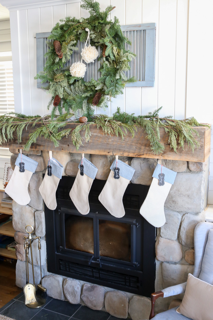 Christmas Mantel, Greens, Blue and White-1