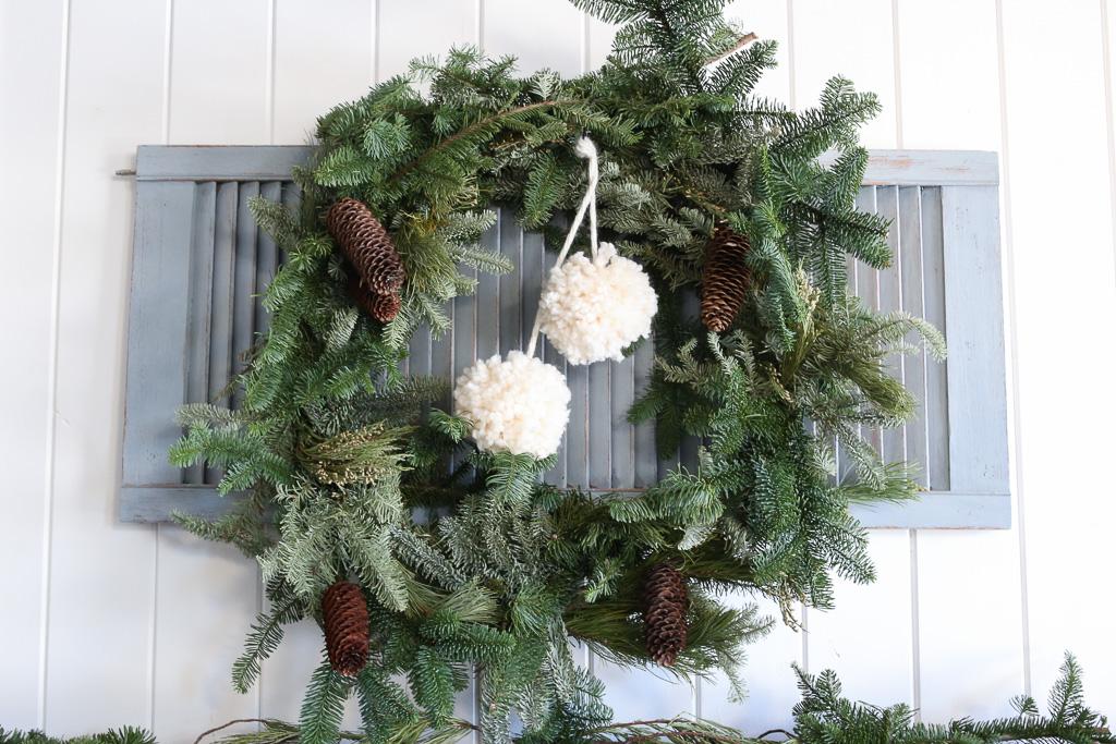 Fresh Wreath, yarn Pom Poms-1