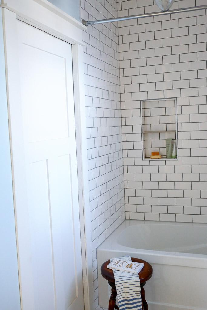 Mission Style Pocket Door, Subway Tile tub surround