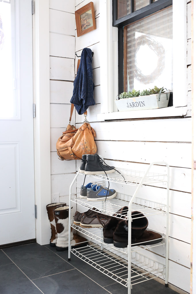 White and Black Small Mudroom with Built Ins | This Mamas Dance