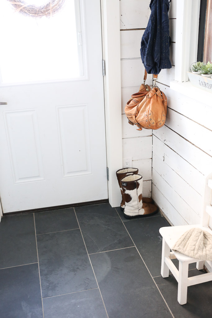 White and Black Small Mudroom with Built Ins | This Mamas Dance-2