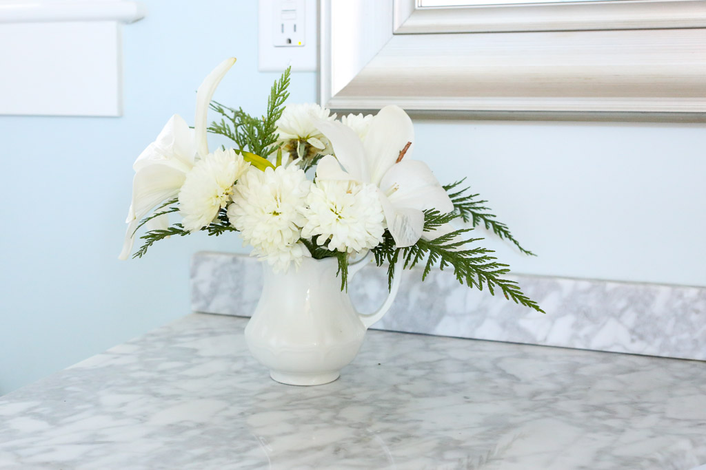 White and green Winter Flower Arrangement| This Mamas Dance