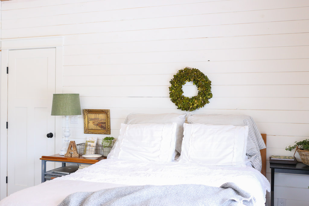 White Shiplap with Boxwood white and grey bedding | This Mamas Dance
