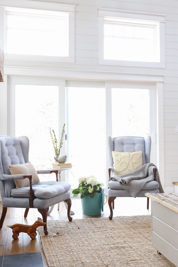 Blue Tufted Wingback Chairs, Coastal Living Room | This Mamas Dance-9