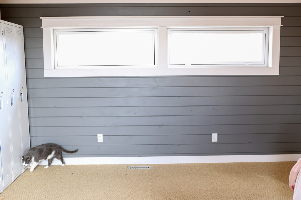 Dark Grey Plank Wall, White Farmhouse Trim This Mamas Dance-4