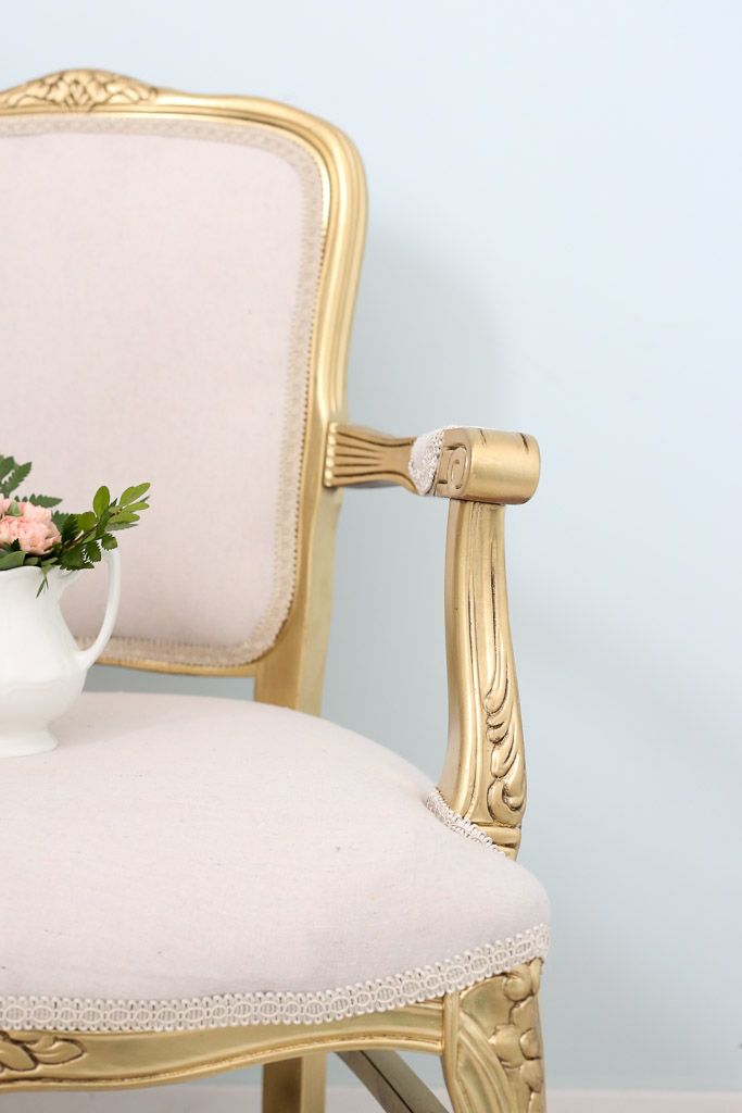 Spray Painted Gold French Chair, Antiquing Wax | This Mamas Dance-2