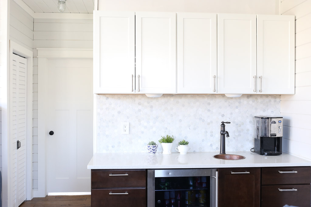 White Upper Cabinets, Dark Wood Lower Cabinets|This Mamas Dance-1