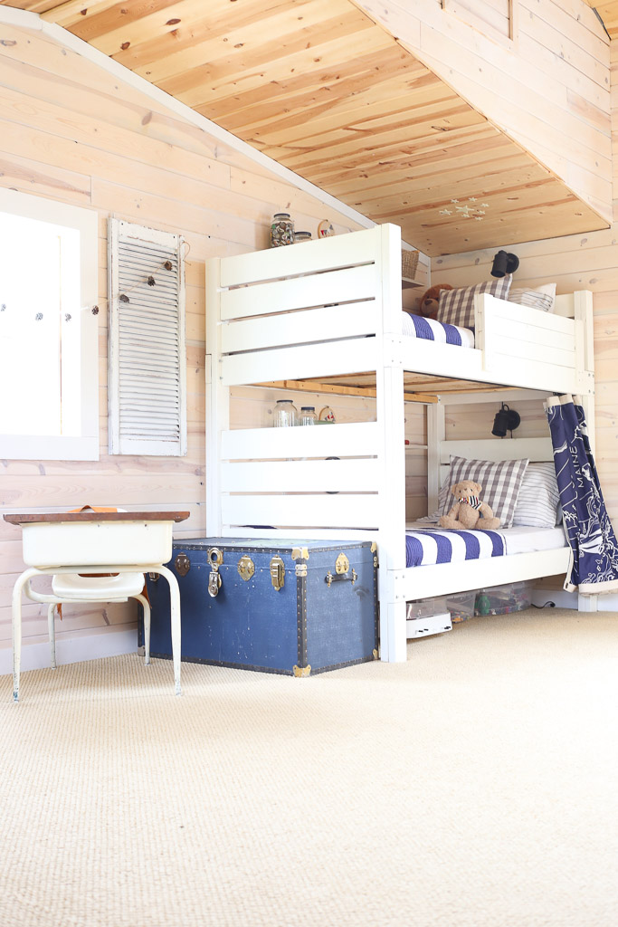 White bunk beds, blue and green accents |This Mamas Dance-1