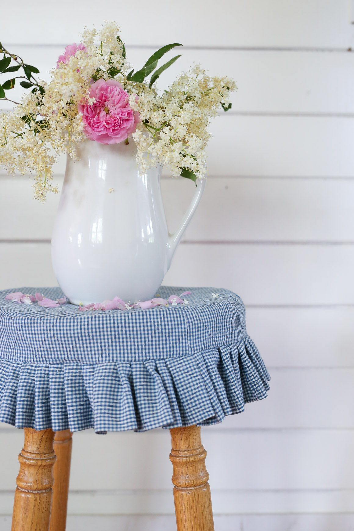 Blue and White Gingham Stool Cover | This Mamas Dance-2