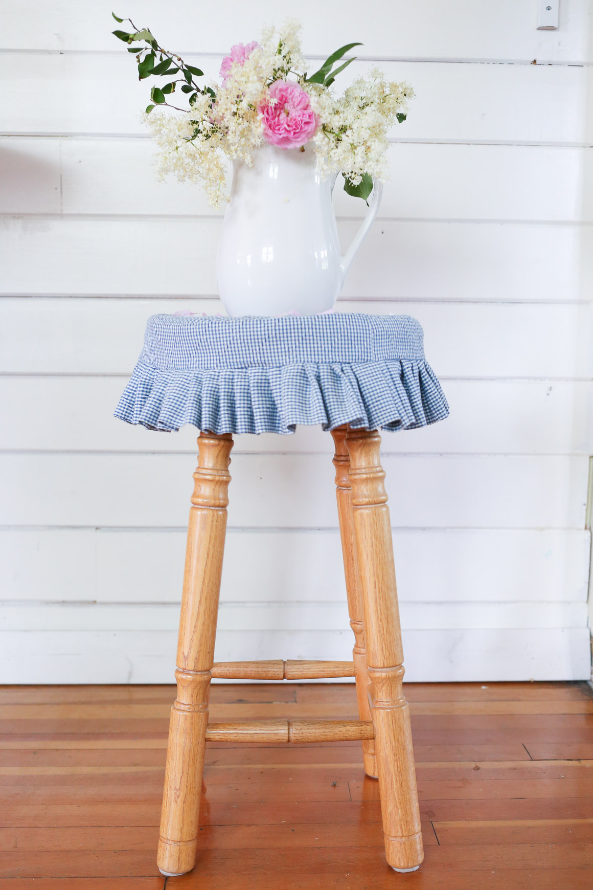 Blue and White Gingham Stool Cover | This Mamas Dance-3
