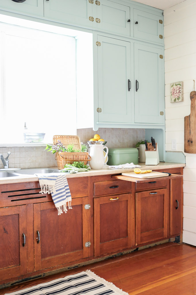 Farmhouse Kitchen, Mint Upper Cabinets, Wood lowers | Mamas Dance-3
