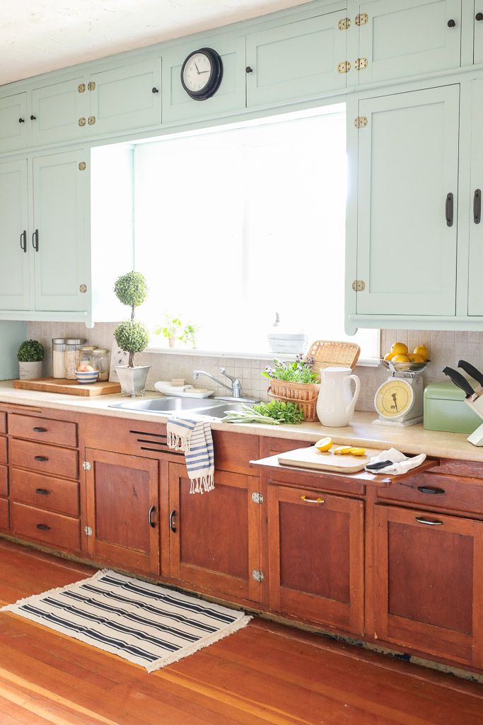 Farmhouse Kitchen, Mint Upper Cabinets, Wood lowers | Mamas Dance-6