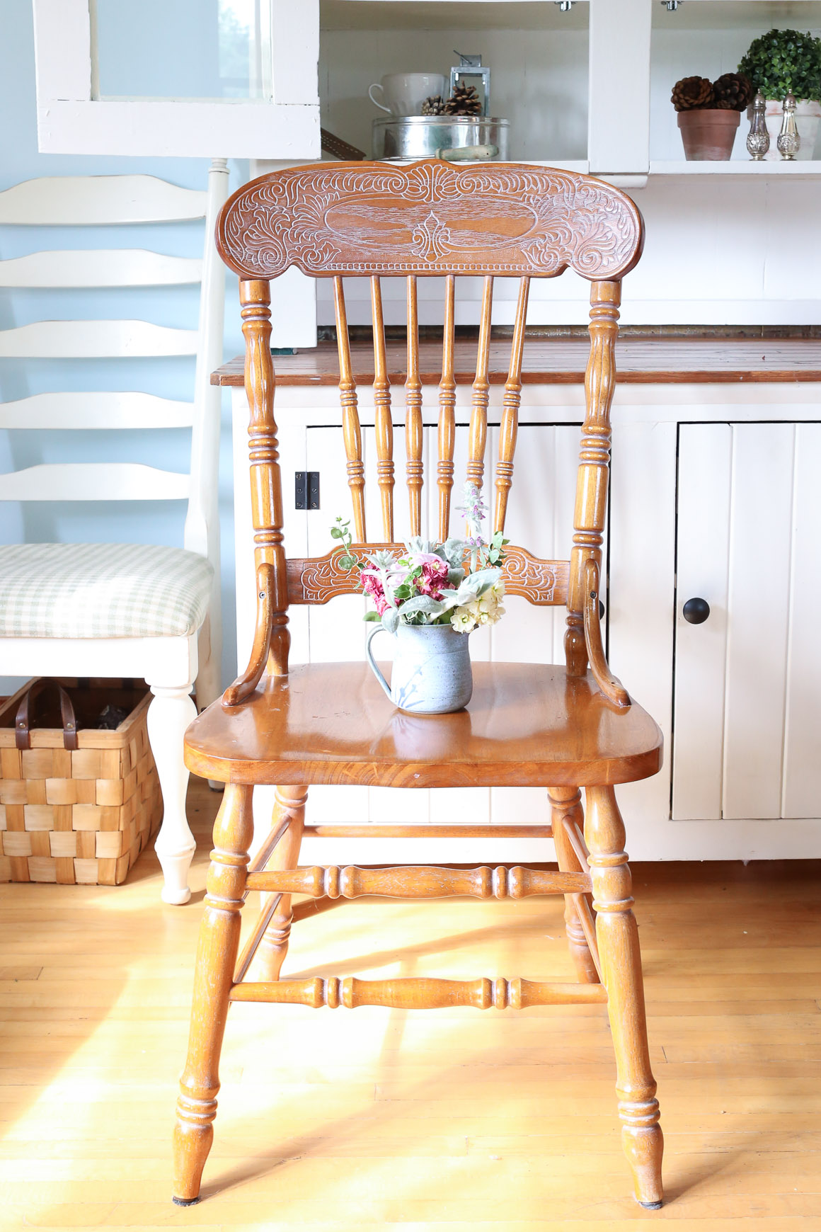 Press Back Chairs, White Wax