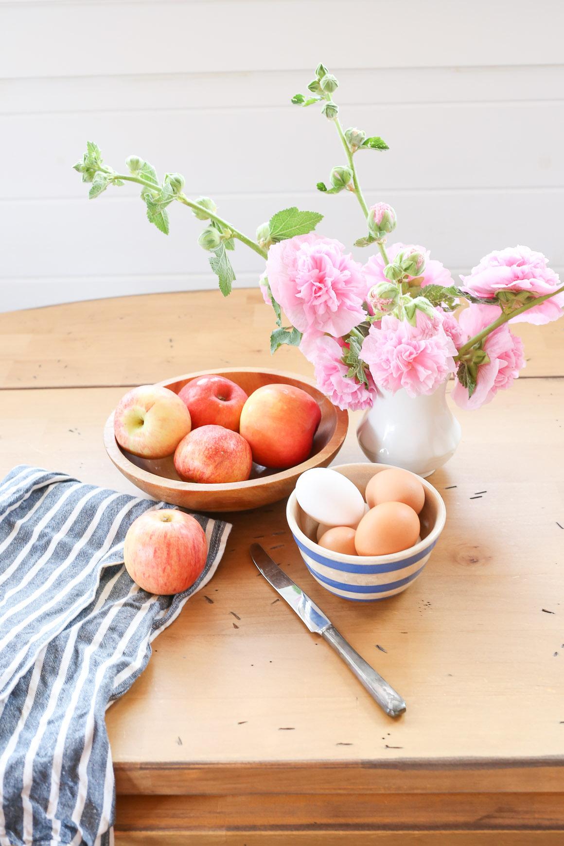 Fresh Apples, Pink Hollyhocks  This Mamas Dance-1