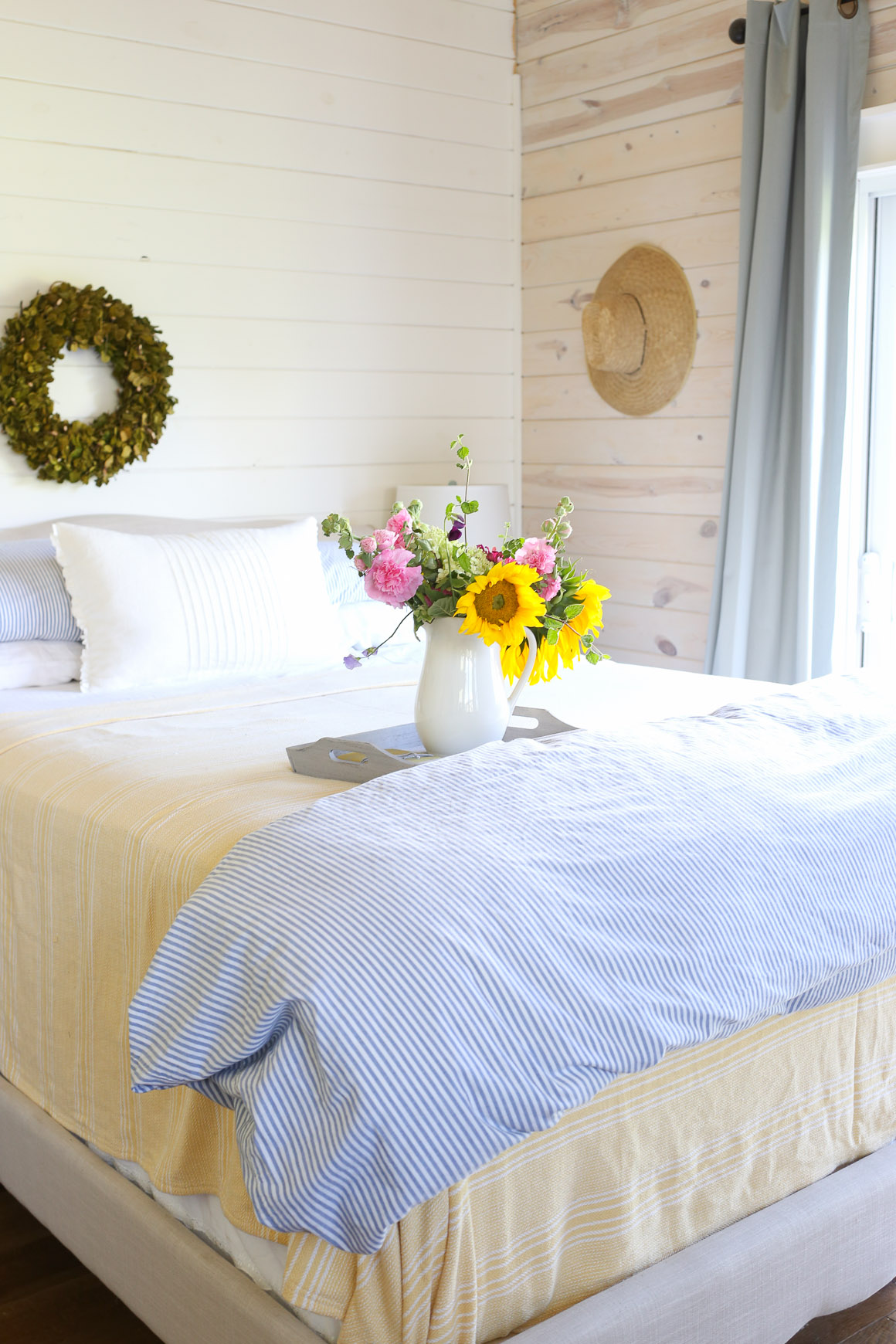 Yellow Throw, Blue and White Ticking Duvet, Farm Fresh Flowers | This Mamas Dance-4