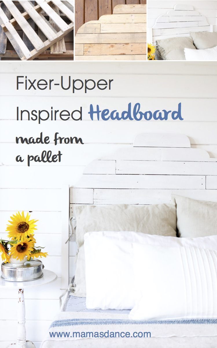 "Full Tutorial for a ""Fixer Upper"" Inspired Headboard made from Pallet Wood via Ashlea This Mamas Dance"